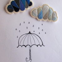 Geometric clouds brooch set cloudy and rainy day colors hand embroidered in blues and grays Fall and Winter fashion