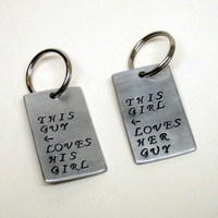 Couples Fun Love Quote Message This Girl Loves Her Guy and This Guy Loves His Girl Aluminum Keychain Gift Set of Two