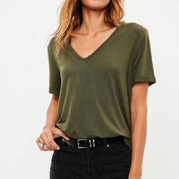 Missguided - Khaki Boyfriend T-shirt