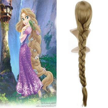 120cm Princess Tangled Rapunzel Anime Cosplay Wig Ponytail Synthetic Hair Braids Halloween Costume Long Golden Blond Womens Wigs