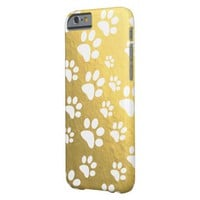 white paw prints pattern on gold barely there iPhone 6 case
