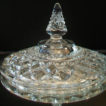 Anchor Hocking Wexford Diamond Cut Lid Clear Vintage Glass Quilted Compote Candy Dish Replacement Piece