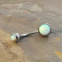 White Fire Opal Belly Button Jewelry Ring