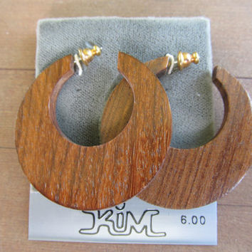 1970s Wooden Hoop Earrings with Original Card