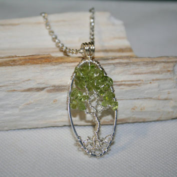 Tree Of Life Necklace Green Peridot Pendant On Silver Chain Wire Wrapped Semi Precious Gemstone Jewelry August Birthstone Jewelry