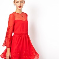 ASOS Embroidered Mesh Sweetheart Skater Dress - Red