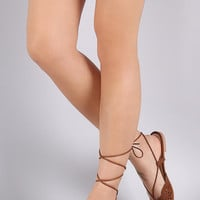 Qupid Perforated Suede Pointy Toe Lace Up Flat
