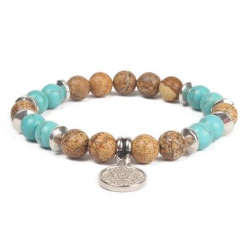 Tiger Eye & Turquoise Beaded Healing Charm Bracelet with