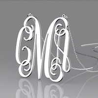 Monogram necklace 925 sterling silver -- 1.25 inch monogram personalized valentines gift necklace