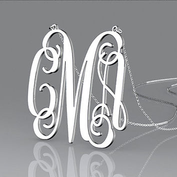 High quality silver jeweleries 1.5 inch monogram customized 925 Sterling Silver necklace for gift