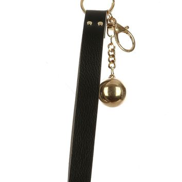 Black Faux Leather Strap Bag Accessory Key Chain