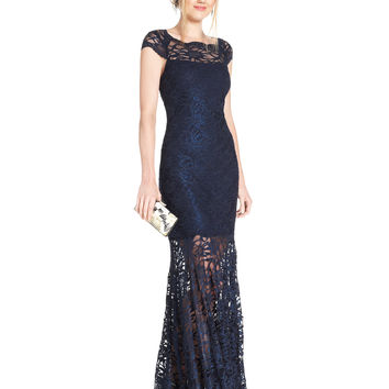 Nightway Illusion Glitter Lace Mermaid Gown