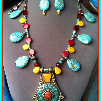 Tibetan Necklace Silver Pendant Turquoise Coral Yellow Jade Inlay with Earrings Large Tribal Beaded Jewelry Necklace, Ethnic Made in Italy