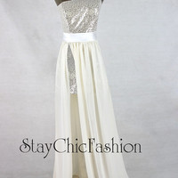 White Silver Sequined One Shoulder Slit High Low Prom Dress