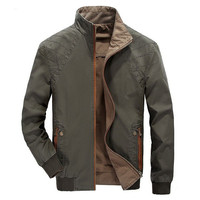 Men's Winter Thick Reversible Cotton Jacket Army Military Outdoors Stand Collar Coat