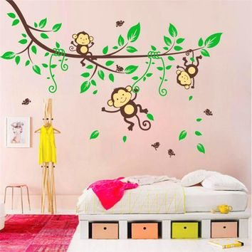 Wall stickers Jungle Monkeys Tree Wall Sticker Decal Kid Nursery Baby Decoration Decal wallpaper Jungle monkey PVC 174*123cm#30