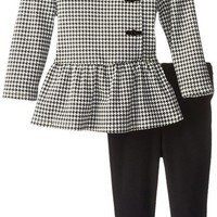 Calvin Klein Baby Girls' Black/White hounds tooth Jacket with Black Leggings,Black/white,24m