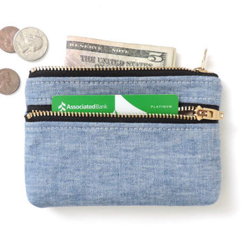 Chambray Wallet Coin Purse Double Zipper Pouch Blue