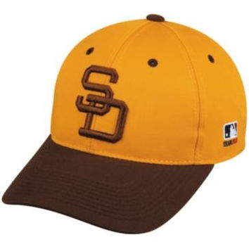 MLB Cooperstown ADULT San Diego PADRES Gold/Brown Hat Cap Adjustable Velcro TWILL Throwback