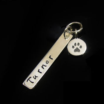 Pet Sterling Silver Bar Hand Stamped Personalized Paw Print Sterling Silver with Pets Name