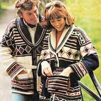 His and Hers cardigan sweater set pattern PDF Instant Download CARDIGAN crochet womans sweater coat jacket supplies epsteam knitting pattern