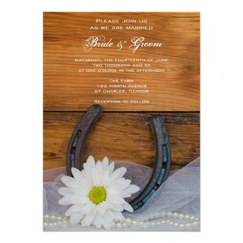 White Daisy and Horseshoe Country Wedding Invite from Zazzle.com