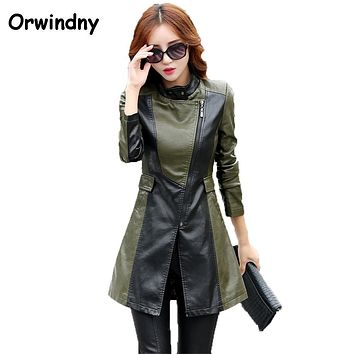 Women PU Leather Jacket 2017 Army Green Female Clothing New Fashion Style Zippers Suede XS-XL