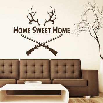 Wall Decal Quotes Home Sweet Home Deer Horn Hunter Gun Design Vinyl Decals Living Room Bedroom Hotel Hostel Window Stickers Home Decor 3766