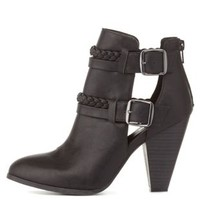 Black Braided & Belted Chunky Heel Booties by Charlotte Russe