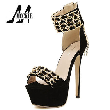 2016 New Brand Metal Chain High-Heeled Sandals Women's Shoes Platform Peep-Toe Zipper Thin Heels Black Casual Shoes Woman J4407