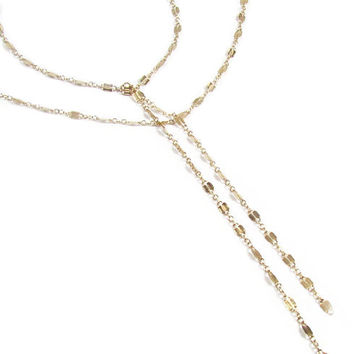 Double Strand Lariat Necklace- Gold Y Necklace as seen on Cameron Diaz-- The Other Woman Movie-- The ORIGINAL on ETSY