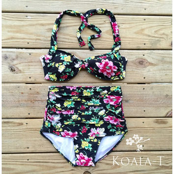 Retro Style Black Floral Halter Top & Ruched High by KoalaTFashion