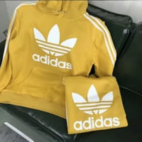 Adidas Fashion new bust letter print thick keep warm couple sports leisure hooded long sleeve sweater top Yellow