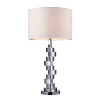 Armagh Table Lamp In Clear Crystal And Chrome With Pure White Faux Silk Shade Clear Crystal,Chrome