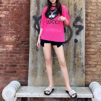 """Gucci"" Women Casual Fashion Sequin Cat Head Letter Short Sleeve Mesh T-shirt Top Tee"