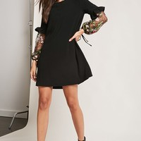 Floral Lantern-Sleeve Dress