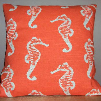 18x18 Salmon Coral Sea Horse Print Decorative Pillow Cover - Same Fabric Both Sides