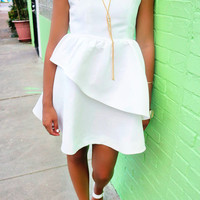 Sunshine & Silhouettes Criss Cross Peplum White Party Dress