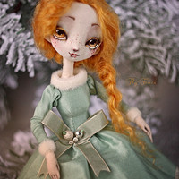 Cloth doll Ginger, OOAK art doll, handmade interior doll - red hair