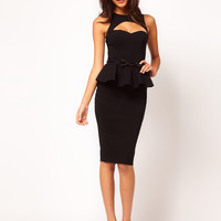 ASOS Peplum Dress With Bow Belt at asos.com