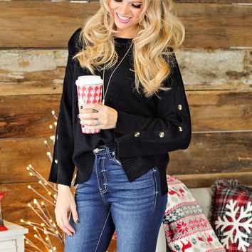 * Not So Shy L/S Sweater With Button Detail: Black
