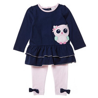 Starting Out 12-24 Months Owl-Applique Top & Striped Leggings Set | Dillards