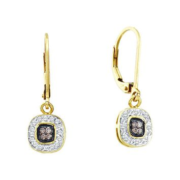 14kt Yellow Gold Womens Round Cognac-brown Colored Diamond Square Cluster Dangle Earrings 1/4 Cttw