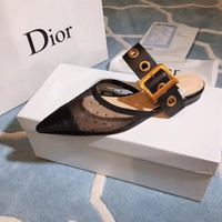 Dior Black Dotted Swiss Tulle Flat Shoes