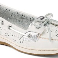 Sperry Top-Sider Angelfish Floral Perf Leather Boat Shoe White, Size 8.5M  Women's Shoes