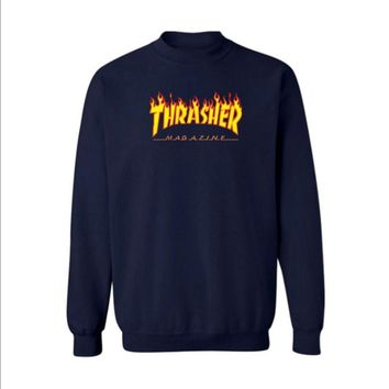 Fall and Winter Thrasher Flame Skateboard Tide Death Hip Hop West Coast Harajuku cotton round neck sweater Yellow letters-2