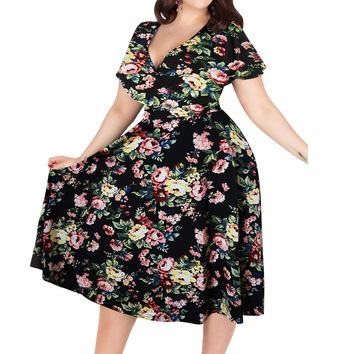 Wipalo Sexy Floral Print Vintage Dress Women Summer V-Neck Short Sleeves A-Lined Dress Pin Up Party Dresses Plus Size 3XL-9XL