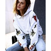 Women Casual Fashion Flower Butterfly Print Long Sleeve Hooded Sweater Tops
