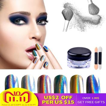 Hot 1g/box Holographic Nail Art Glitter Powder Shiny Rainbow Pigment Unicorn Hologram Dust UV Gel Nail Polish Manicure Accessory