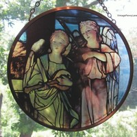 Vintage Angels Sun Catcher, Stained Glass New York Church Reproduction
